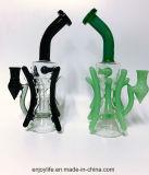 Großhandels11inch schwarzer und grüner Recycler KLEKS stellt buntes rauchendes Wasser-Glasrohr ein