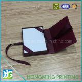 Contenitore di lusso di anello del cartone di stile del libro con il nastro di seta