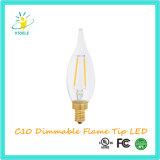 Lumière extérieure de filament de la bougie DEL d'extrémité de flamme de Stoele C10 Dimmable