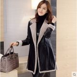 Estilo largo de Shearling de la capa del negro de la capa de cuero larga del cuero para el abrigo de pieles de las mujeres