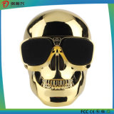 Altoparlante senza fili metallico di Bluetooth del cranio dorato