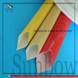 Ámbar tejido fibra de vidrio revestida resistente del poliuretano Sleeving10.0mm de la batalla