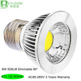6W AC85-265V Dimmable LED 반점 빛