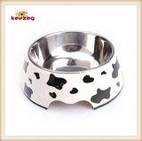 Modelo de la vaca de melamina y acero inoxidable para mascotas Dog Food Bowl