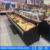 Refrigerador combinado Volum grande da carne do console do supermercado com pés de Roma