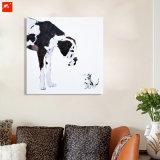 Het wild Dierlijke Daimatian en Zijn Olieverfschilderij van het Katje van de Vriend