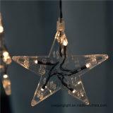 Ce&RoHSはホームまたはクリスマスまたは結婚式の装飾のための星が付いている1m60LEDカーテンライトを承認した