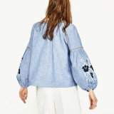 Mode Femmes Loose V-Neck Broderie Balloon Sleeve Vêtements Blouse