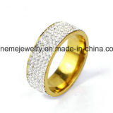 La riga del doppio dei monili di Shineme lapida l'anello placcato oro dell'acciaio inossidabile (CZR2571)