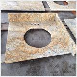 Bancada dourada chinesa da parte superior da vaidade do banheiro do granito