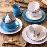 piatto di ceramica del padellame di 27cm con l'orlo colorato della buccia della glassa