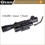 3-9X40e Illuminated Rifle Scope + Red Laser + Torch