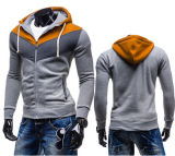 熱い販売の綴りカラー男性の羊毛のフード付きのセーターのコート