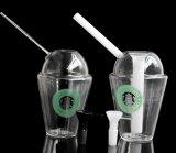 A cor limpa Starbucks imprime plataformas petrolíferas do copo 8 polegadas de tubulação popular alta do vidro da tubulação de fumo