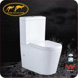 Filigrane sanitaire normal australien d'articles et toilette en céramique en deux pièces de lavage à grande eau affleurant duel de fournisseur de la Chine d'homologation de Wels (6010)