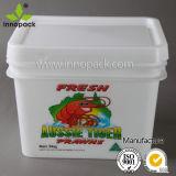 подгонянное 10L ведро еды ведра белого квадрата пластичное с пластичной крышкой