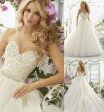 Une ligne cristal de Tulle d'amoureux perlant des robes de mariage