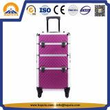 Caisse cosmétique en aluminium rouge/caisse de chariot/cas de renivellement