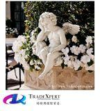 백색 손에 의하여 새겨지는 천사 조각품, 정원을%s 화강암 아이 동상