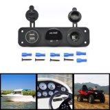 Dreifache Funktion Doppel-USB-Aufladeeinheit + blaue des LED-Voltmeter-+ Anschluss-12V Kontaktbuchse-Paneljack-Marine für Digital-Einheit-Handy-Tablette