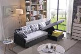 Живущий кровать софы ткани угла мебели комнаты с хранением