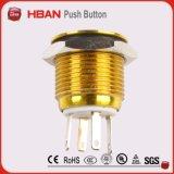 Bouton poussoir coloré imperméable à l'eau de corps du commutateur IP67 16mm de la CE TUV boucle DEL de 12 volts sur outre du commutateur de bouton poussoir en laiton en métal de commutateur