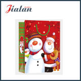 Bolsa de papel laminada brillante del regalo del embalaje del muñeco de nieve de la Navidad del papel de arte