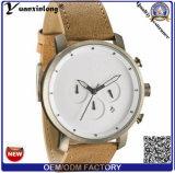 Relógio de pulso grande clássico da forma do homem do trabalho do seletor da cinta de couro de Brown dos relógios de quartzo dos homens do relógio Yxl-913