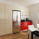 Cabinas de cocina de madera del proyecto en forma de L moderno del rojo HPL (OP14-HPL01)