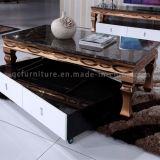 Koffietafel van de Kleur van de luxe de Gouden Modern met Marmeren Bovenkant