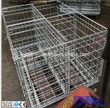 Складные стальной сетки для поддонов контейнер для складского хранения