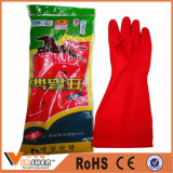 Guantes de goma largos del nitrilo de los guantes del trabajo de mano del látex industrial