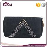 Бумажник для женщин, оптовая продажа способа черный портмона бумажника застежки -молнии PU кожаный