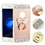 TPU Soft Wtih Rhinestones Espelho Metal Ring Case para iPhone 7 7plus Electropalting Phone Case (XSP-0002)