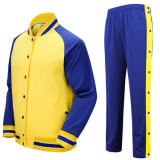 바지, 운동복 한 벌을%s 가진 면 평야 남자 야구 재킷 높은 쪽으로 단추를 끼우십시오