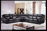 Grande sofà sezionale d'angolo adagiantesi di cuoio dell'aria classica e tradizionale per le grandi famiglie