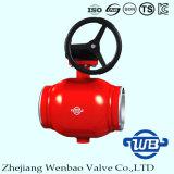 Válvula de esfera operada engrenagem inteiramente de solda com o GOST para o gás