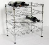 Multi-Level ajustável Chrome Metal Wine Rack Suporte de carrinho de garrafa