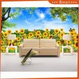 Sonnenblume-Tapeten-wasserdichte Vinylwandtapete für HauptÖlgemälde