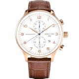 Relógio simples de quartzo do negócio de forma com o relógio impermeável Multifunctional da cinta de couro do negócio dos esportes todo o funcionamento do seletor