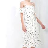 Тонкое женщин способа шифоновое напечатанное с платья выскальзования повязки плеча