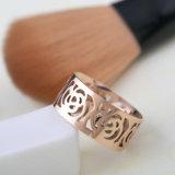 Las mujeres de moda de acero inoxidable joyas 18k rosa anillo de flores de oro