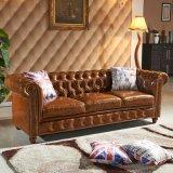 Retro ledernes Sofa-hölzerne Möbel für Wohnzimmer