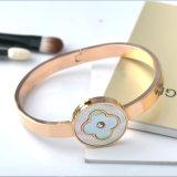 Elegante Jóias Moda Mulheres Bracelete De Bracelete De Charme De Flor De Aço Inoxidável