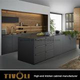 現代台所家具の木の方法マットの黒い食器棚Tivo-0019V