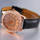 Relógios 2017 ocasionais dos homens da cinta de couro do relógio de quartzo do ouro de Rosa