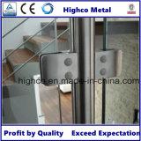 Plaza de abrazadera de cristal con la parte posterior redonda de vidrio Baranda de escalera