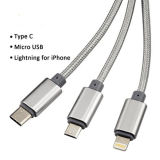 Multi зарядный кабель 3FT USB 3 в 1 шнуре множественного кабеля заряжателя USB поручая с типом молнией C/8pin/микро- разъемами USB USB для Android Ios