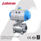 Wenzhou Hersteller drei Stück-Edelstahl-pneumatisches Kugelventil