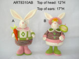 "17 ""H Bunny with Carrot & Sign-2astst. Décoration -Easter"